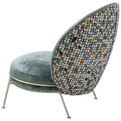 Beautiful Armchair Velvet Pattern Fishbone Acqua Champagne Satined Finishing