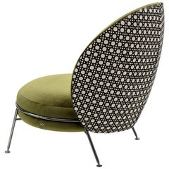 Beautiful Armchair Velvet Polished Nickel Black Finishing Amaretto Collection