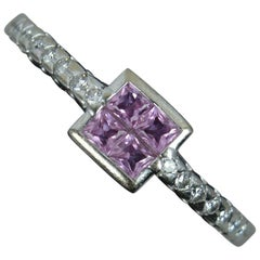 Beautiful Art Deco Design 18ct White Gold Pink Sapphire & Diamond Cluster Ring