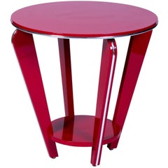 Beautiful Art Deco End or Side Table in Crimson Lacquer