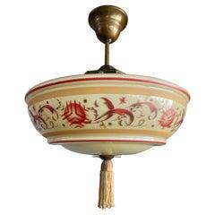Beautiful Art Deco Glass Pendant light / Flush Mount with Hand Knotted Tassel