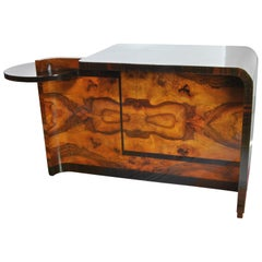 Beautiful Art Deco Side Table in Rosewood and Walnut, Italy, 1930