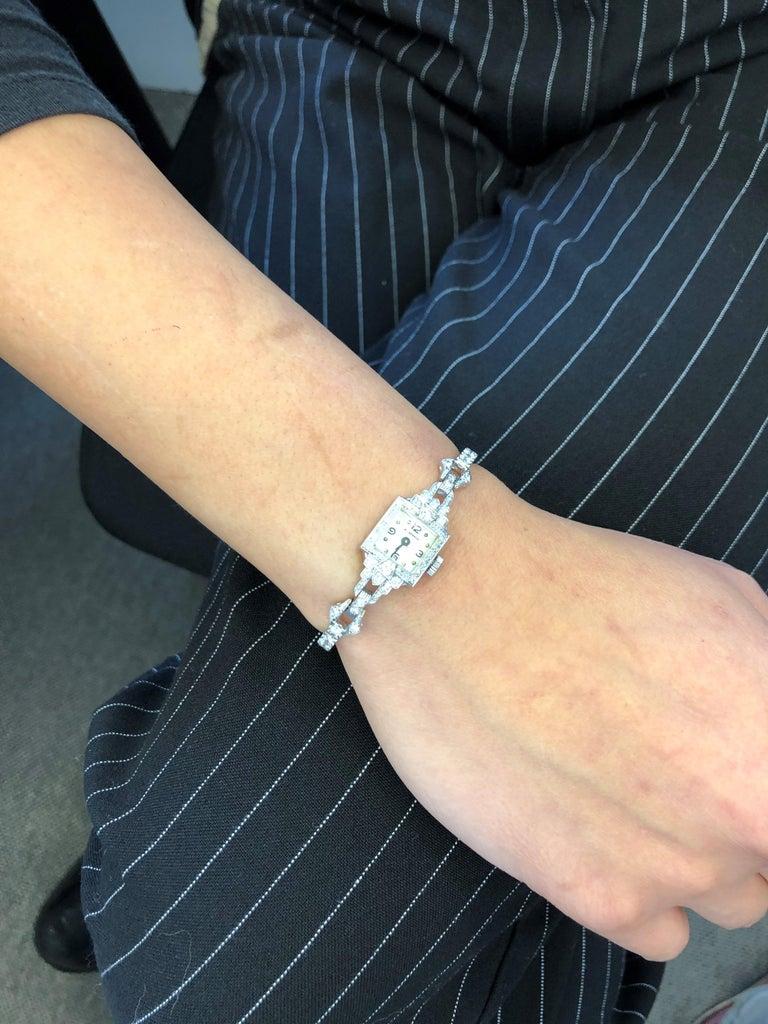 Beautiful Art Deco Style Ladies Bracelet Watch with Diamonds in Platinum 950 For Sale 6