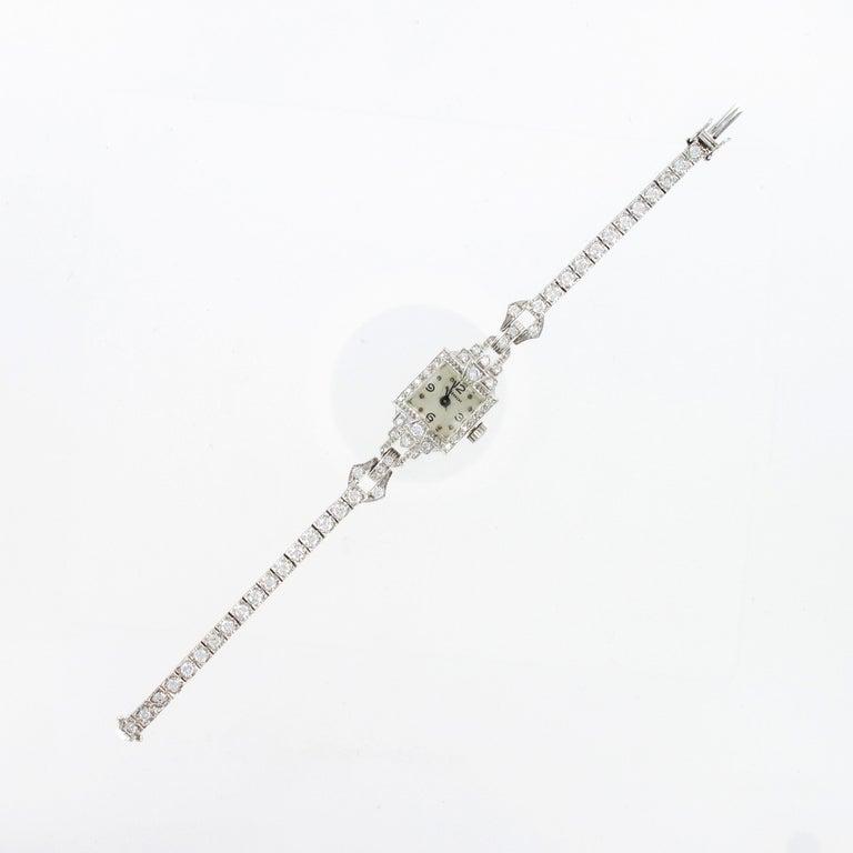 Brilliant Cut Beautiful Art Deco Style Ladies Bracelet Watch with Diamonds in Platinum 950 For Sale