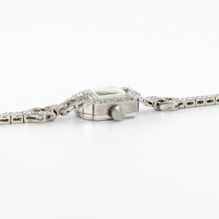 Beautiful Art Deco Style Ladies Bracelet Watch with Diamonds in Platinum 950 For Sale 1