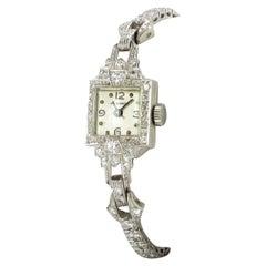Beautiful Art Deco Style Ladies Bracelet Watch with Diamonds in Platinum 950