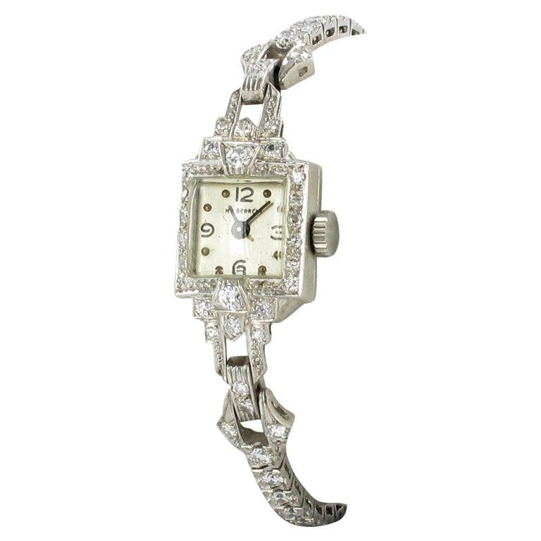 Beautiful Art Deco Style Ladies Bracelet Watch with Diamonds in Platinum 950 For Sale