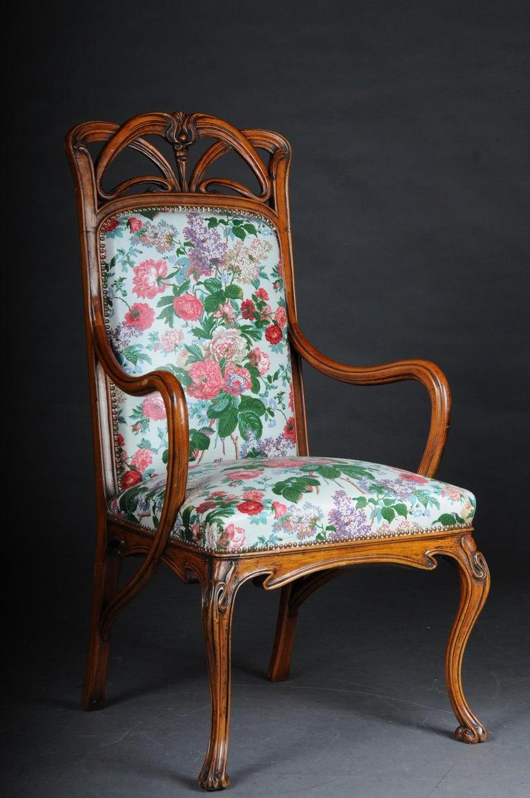 French Beautiful Art Nouveau Armchair after L. Majorelle For Sale