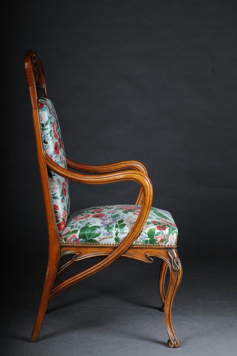 Hand-Carved Beautiful Art Nouveau Armchair after L. Majorelle For Sale