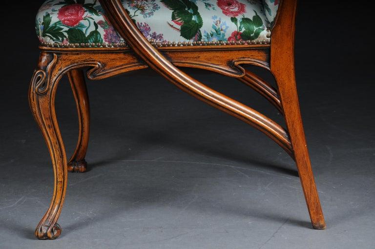 Wood Beautiful Art Nouveau Armchair after L. Majorelle For Sale
