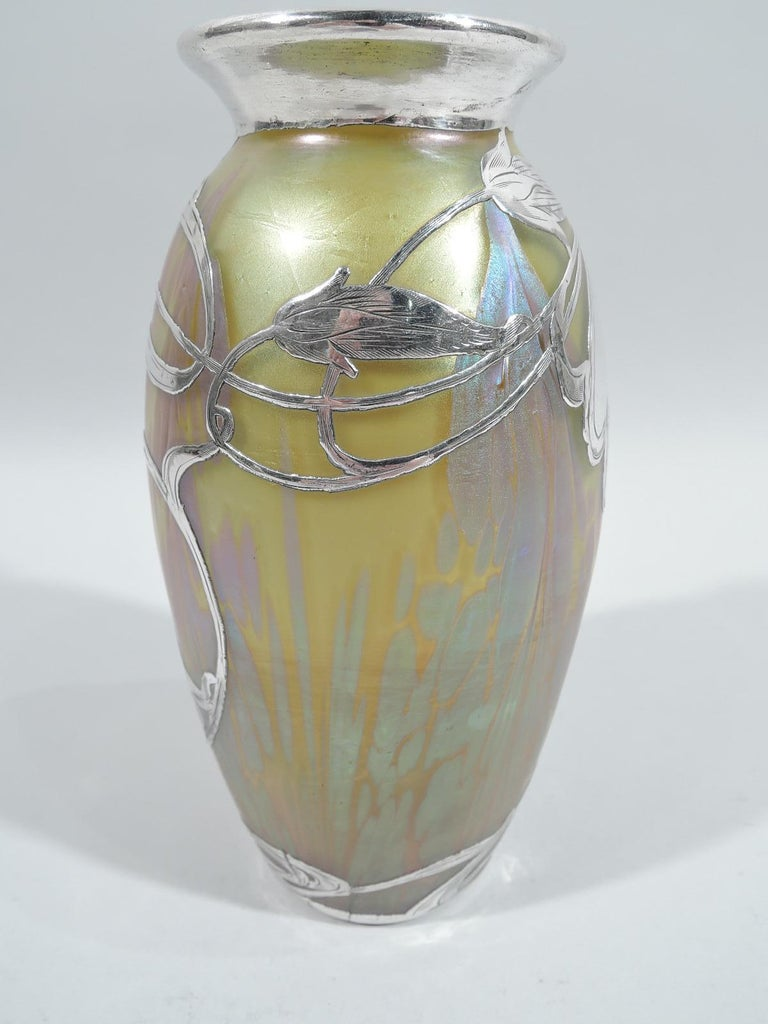 Austrian Beautiful Art Nouveau Loetz Medici Vase with Whiplash Silver Overlay For Sale