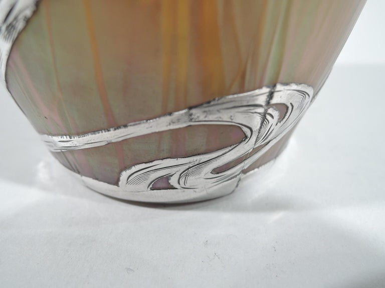 Beautiful Art Nouveau Loetz Medici Vase with Whiplash Silver Overlay For Sale 1