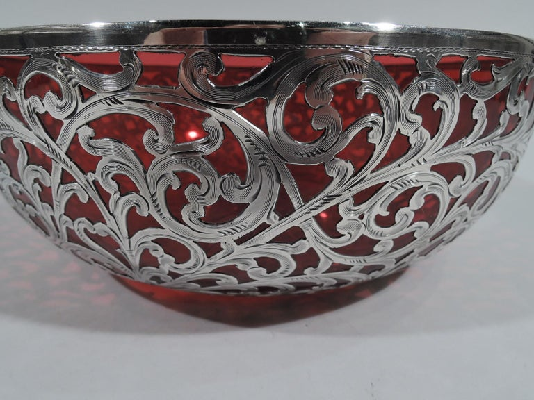 American Beautiful Art Nouveau Red Glass and Silver Overlay Bowl by Alvin For Sale