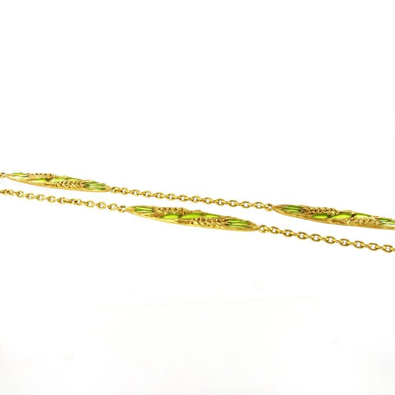 Beautiful Art Nouveau Sautoir in 18 Karat Yellow Gold with Plique-à-jour Enamel For Sale 3