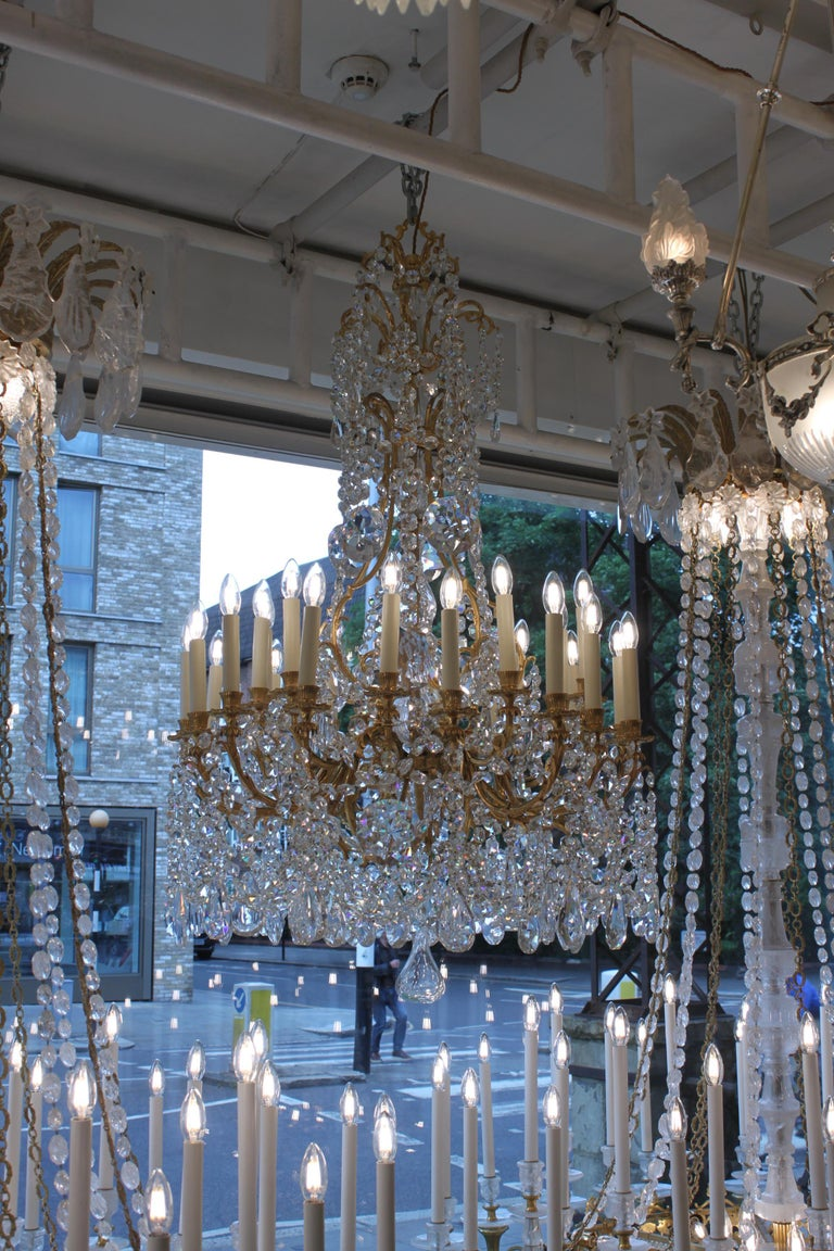French Beautiful Baccarat Crystal and Bronze Chandelier, circa 1850 For Sale