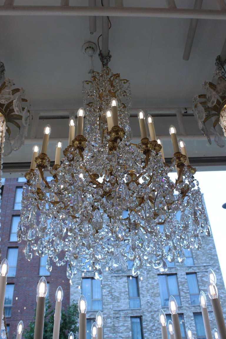 Beautiful Baccarat Crystal and Bronze Chandelier, circa 1850 For Sale 1
