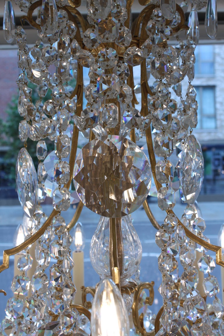 Beautiful Baccarat Crystal and Bronze Chandelier, circa 1850 For Sale 2