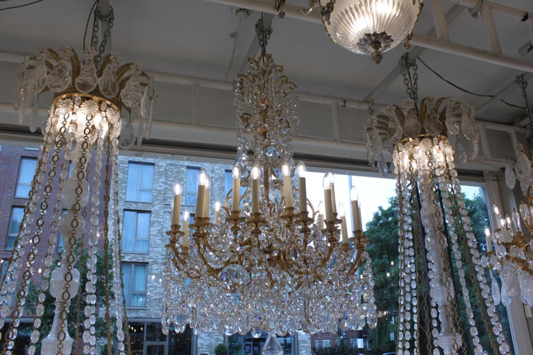 Beautiful Baccarat Crystal and Bronze Chandelier, circa 1850 In Excellent Condition For Sale In London, GB