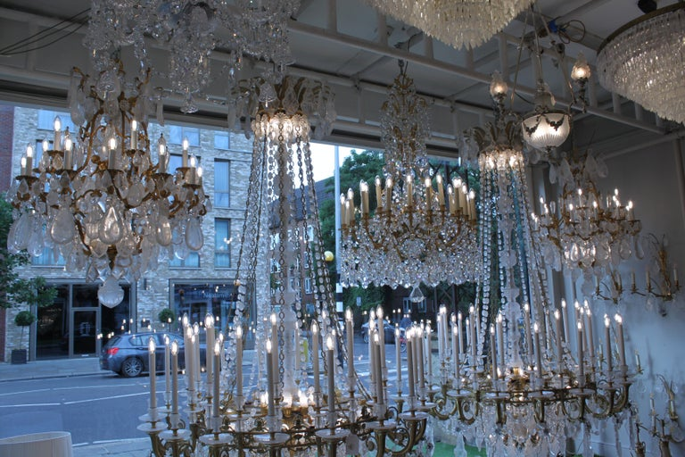 Beautiful Baccarat Crystal and Bronze Chandelier, circa 1850 For Sale 3