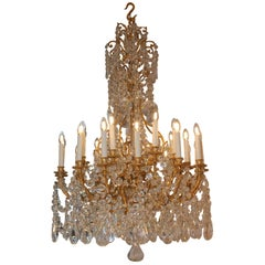 Beautiful Baccarat Crystal and Bronze Chandelier, circa 1850