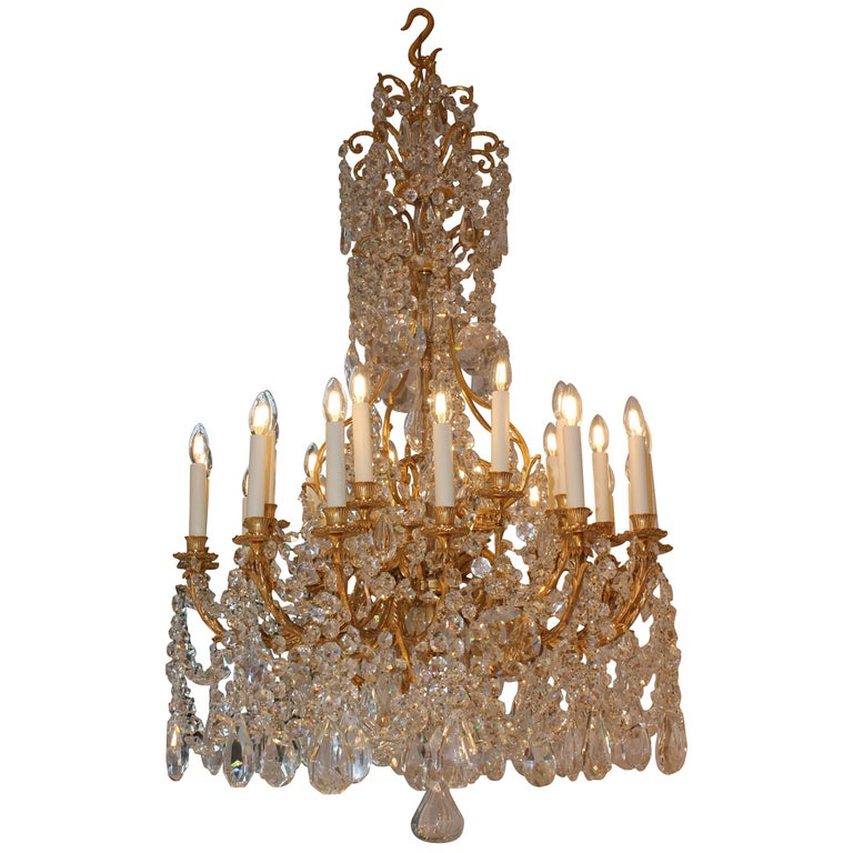 Beautiful Baccarat Crystal and Bronze Chandelier, circa 1850 For Sale