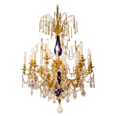 Beautiful Baltic Bronze Blue Rock Crystal Chandelier