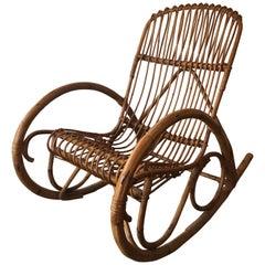Beautiful Bamboo and Rattan Rocking Chair Armchair, circa 1970, European Work