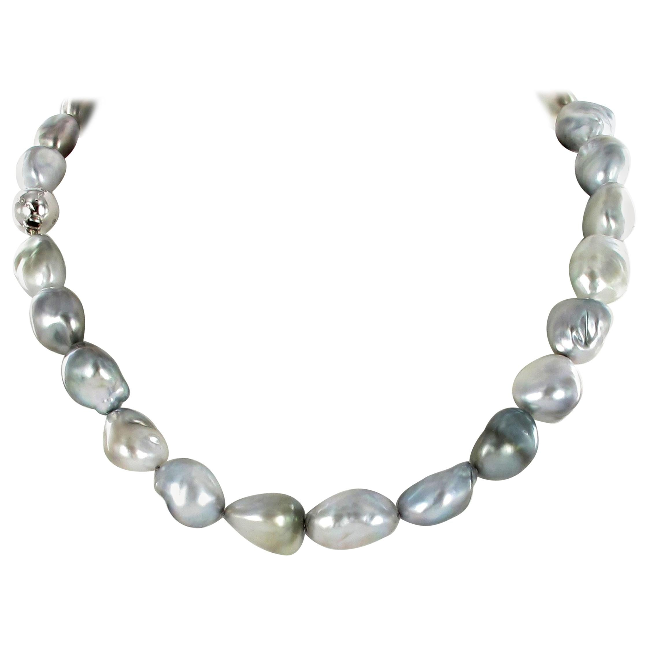 Beautiful Baroque Tahitian Cultured Pearl and Diamond Necklace