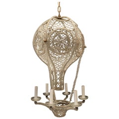 Beautiful Beaded Italian Gilt Bronze Clear Crystals Hot Air Balloon Chandelier