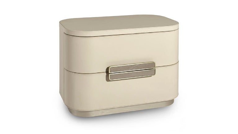 Other Beautiful Bed Side Table Fabric or Leather Handle with Vetrite Insert For Sale