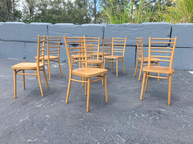 Beautiful Bentwood Dining Chairs, in the Style of Thonet For Sale 5