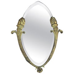 Beautiful & Beveled Wall Mirror in Gilt Bronze Frame w. Eternal Flame Torchères