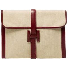 """Beautiful bi-material Hermès """"Jige"""" clutch large size in canvas & box leather"""