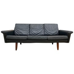 Beautiful Black Leather Low Danish Modern Couch Sofa Rosewood Legs