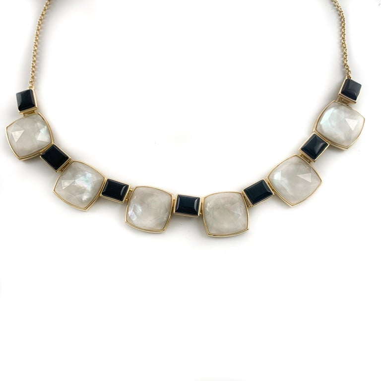 Square Cut Beautiful Black Onyx & Sterling Silver Gold Finish W/ Mother of Pearl Necklace For Sale