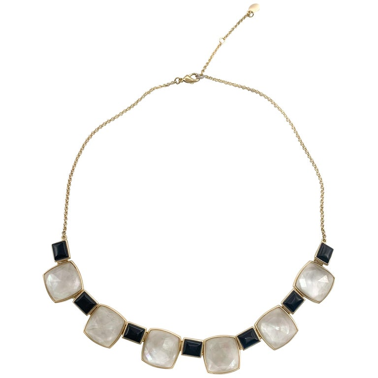 Beautiful Black Onyx & Sterling Silver Gold Finish W/ Mother of Pearl Necklace For Sale