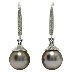 Beautiful Black Tahitian Pearl Drop Earrings Diamond Dangles White Gold Estate