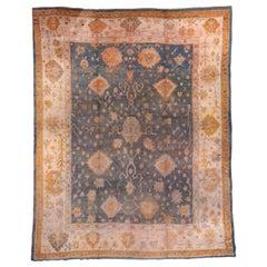 Beautiful Blue Antique Turkish Oushak Carpet