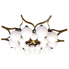 Beautiful Brass and Glass Chandelier in the Style of Gio Ponti