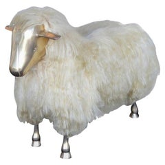 Beautiful Brass and Wool-Covered Wood Sheep, France, 20th Century