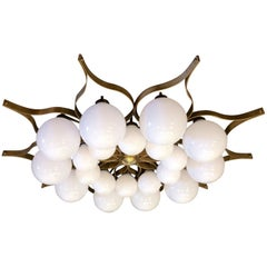 Beautiful Brass Chandelier in the Style of Gio Ponti