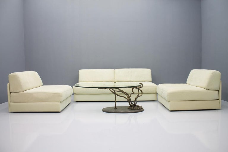 Beautiful Bronze Tree Form Sofa Table with Slate Base and Glass Top, 1960s 8
