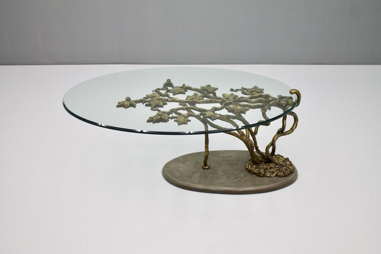 Hollywood Regency Beautiful Bronze Tree Form Sofa Table with Slate Base and Glass Top, 1960s