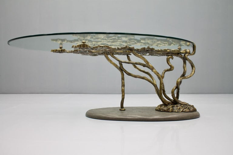 French Beautiful Bronze Tree Form Sofa Table with Slate Base and Glass Top, 1960s