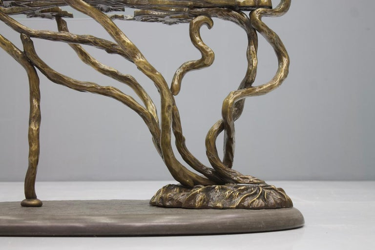 Beautiful Bronze Tree Form Sofa Table with Slate Base and Glass Top, 1960s In Good Condition In Frankfurt / Dreieich, DE
