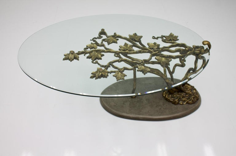 Beautiful Bronze Tree Form Sofa Table with Slate Base and Glass Top, 1960s 1