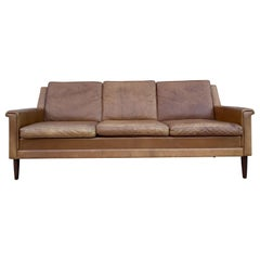 Beautiful Brown Leather Low Danish Modern Couch Sofa Rosewood Legs