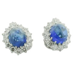 Beautiful Cabochon Sapphire and Diamond Clip Earrings in Platinum