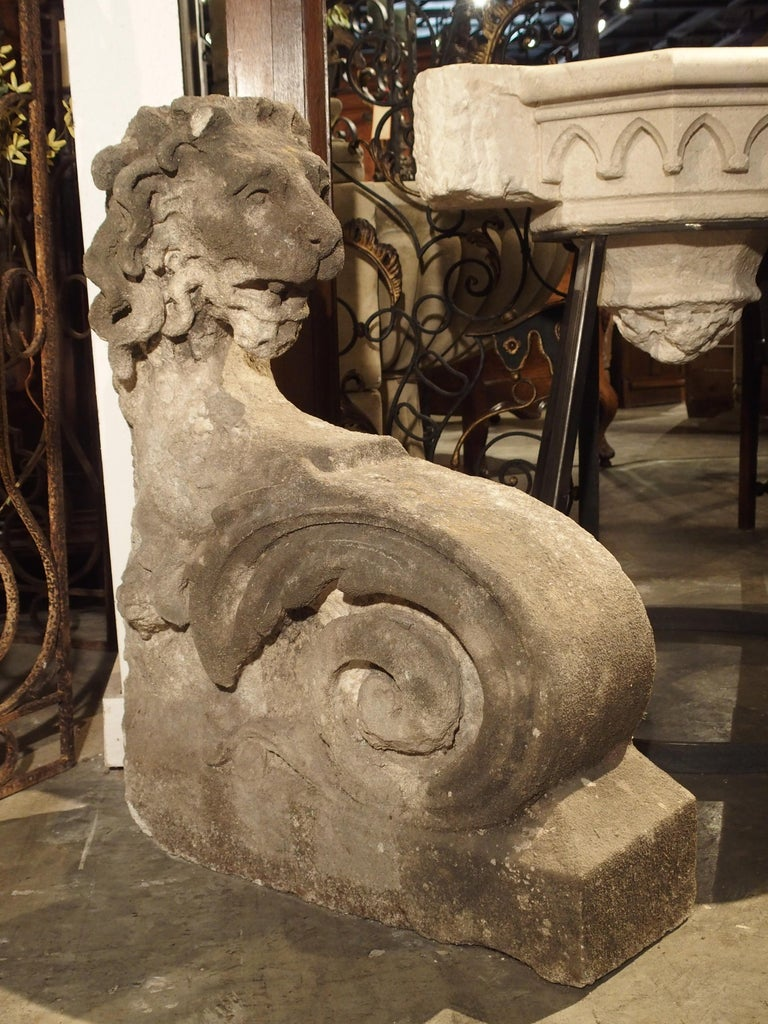 Beautiful Carved Limestone Lion Architectural, Burgundy France, 17th Century For Sale 7