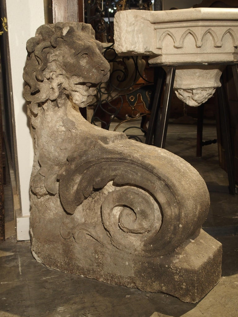 Beautiful Carved Limestone Lion Architectural, Burgundy France, 17th Century In Good Condition For Sale In Dallas, TX